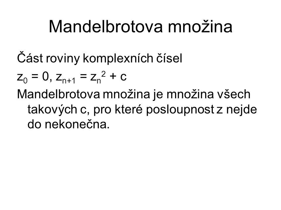 Část roviny komplexních čísel z 0 = 0, z n+1 = z n 2 + c Mandelbrotova množina je množina všech takových c, pro které posloupnost z nejde do nekonečna