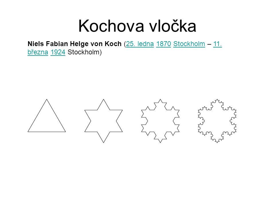 Kochova vločka Niels Fabian Helge von Koch (25. ledna 1870 Stockholm – 11. března 1924 Stockholm)25. ledna1870Stockholm11. března1924