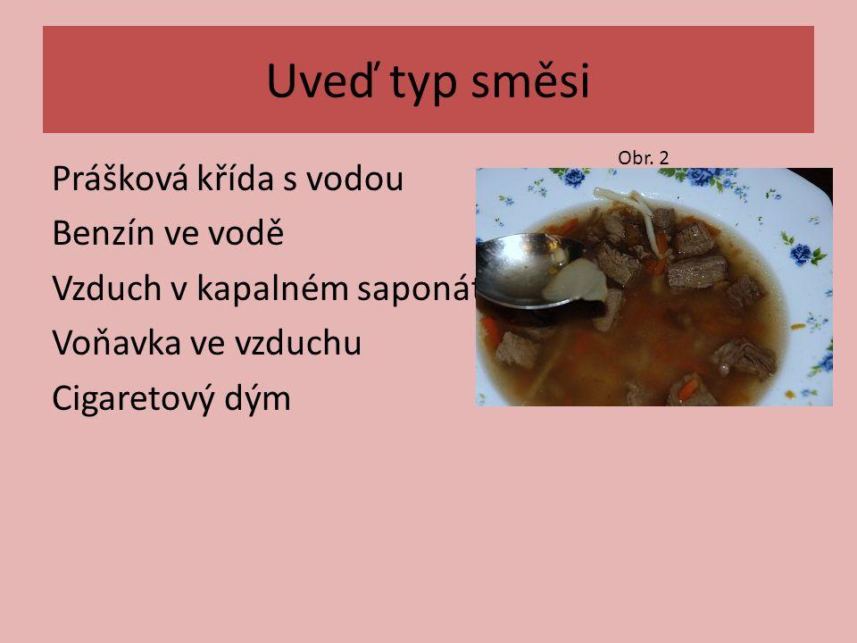 Doplň tabulku směsi Žula, bahno s vodou Bylinkový čaj roztok