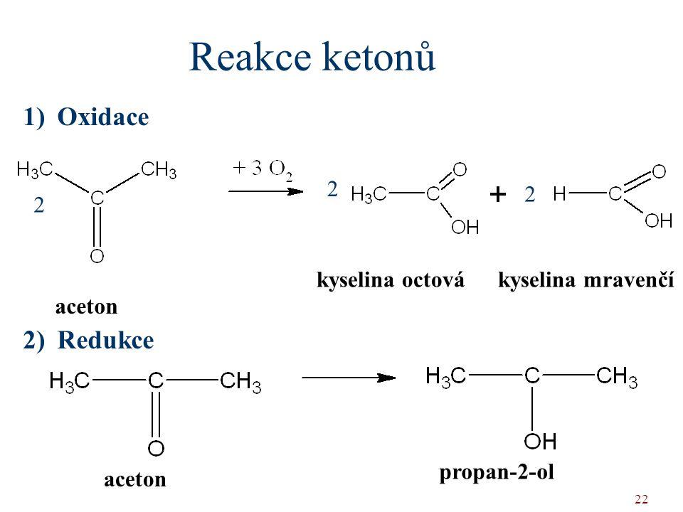 22 1)Oxidace 2)Redukce Reakce ketonů kyselina octová aceton kyselina mravenčí 2 2 2 aceton propan-2-ol