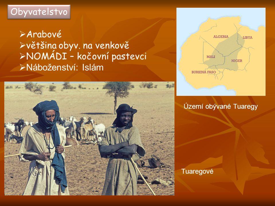 Obyvatelstvo  Arabové  většina obyv. na venkově  NOMÁDI – kočovní pastevci  Náboženství: Islám Tuaregové Území obývané Tuaregy