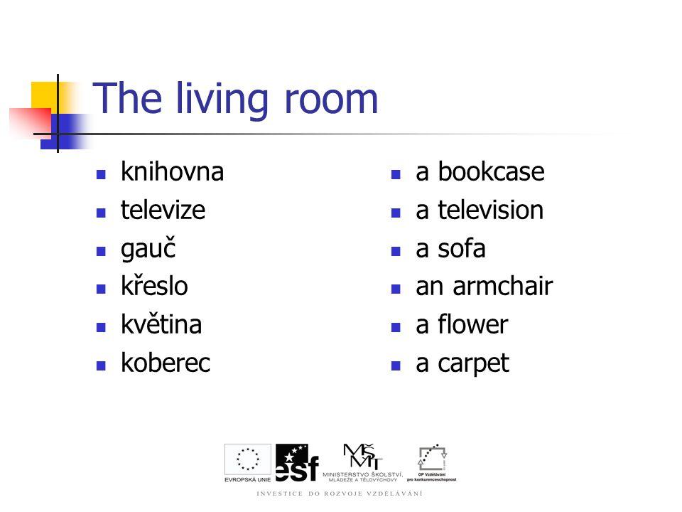The living room knihovna televize gauč křeslo květina koberec a bookcase a television a sofa an armchair a flower a carpet