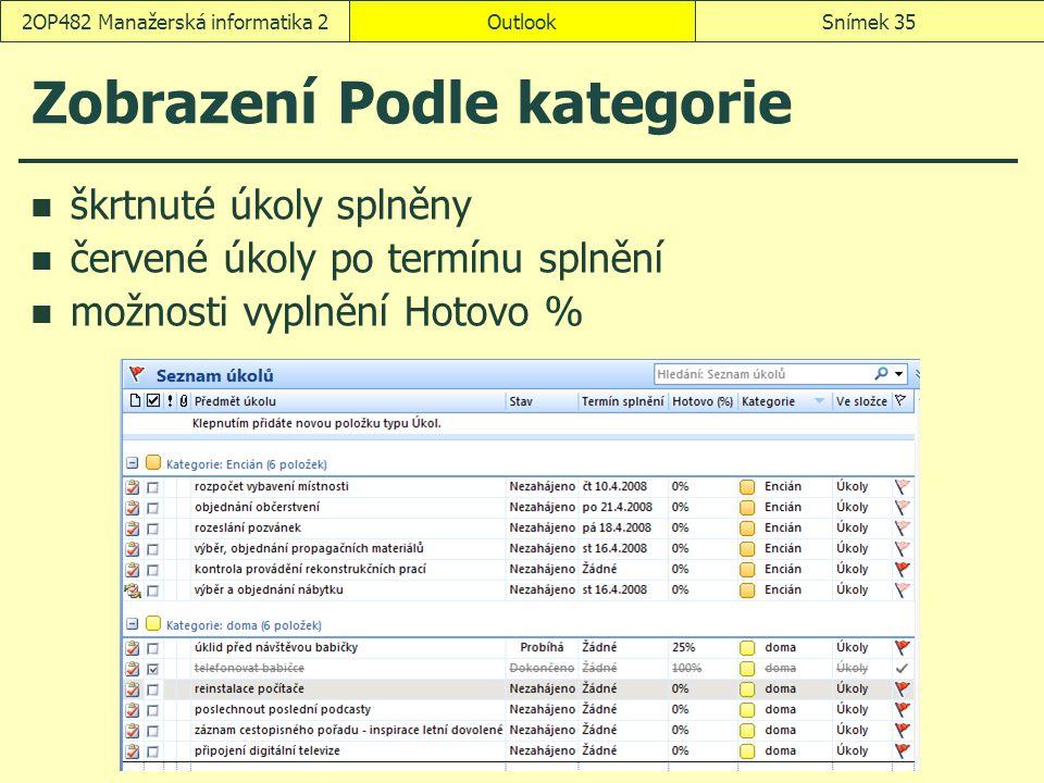 OutlookSnímek 352OP482 Manažerská informatika 2 Zobrazení Podle kategorie škrtnuté úkoly splněny červené úkoly po termínu splnění možnosti vyplnění Hotovo %