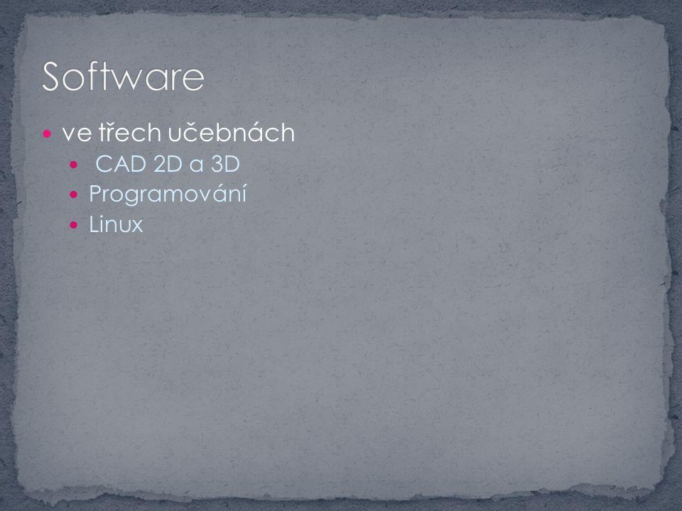 ve třech učebnách CAD 2D a 3D Programování Linux
