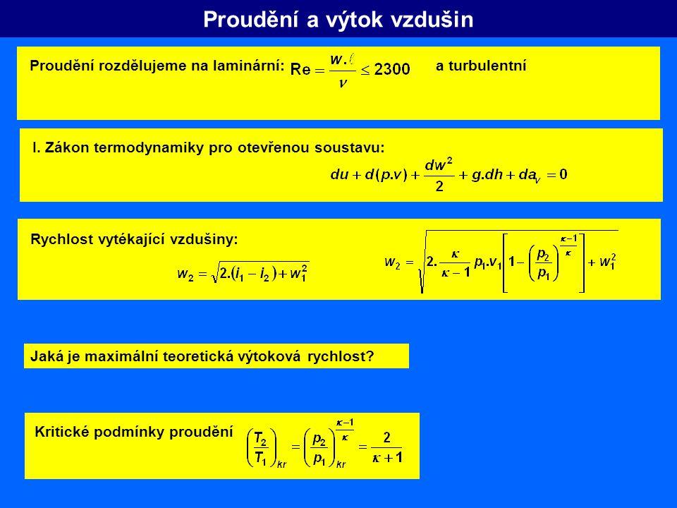 Proudění a výtok vzdušin I. Zákon termodynamiky pro otevřenou soustavu: Rychlost vytékající vzdušiny: Jaká je maximální teoretická výtoková rychlost?