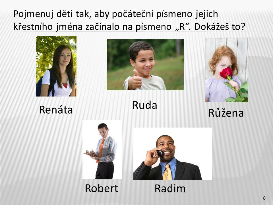 """Růžena 8 Renáta Robert Radim Pojmenuj děti tak, aby počáteční písmeno jejich křestního jména začínalo na písmeno """"R"""". Dokážeš to? Ruda"""