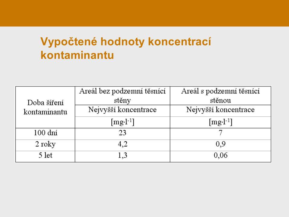 Vypočtené hodnoty koncentrací kontaminantu