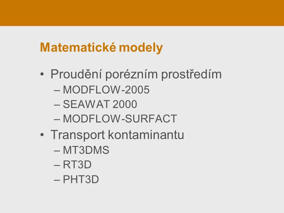 Matematické modely Proudění porézním prostředím –MODFLOW-2005 –SEAWAT 2000 –MODFLOW-SURFACT Transport kontaminantu –MT3DMS –RT3D –PHT3D
