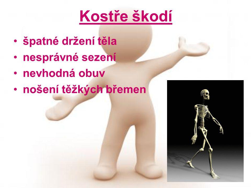Kostře škodí špatné držení těla nesprávné sezení nevhodná obuv nošení těžkých břemen