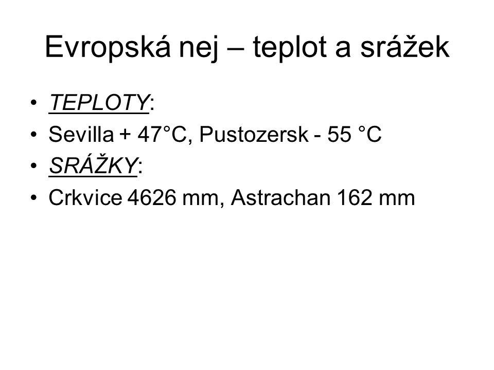 Evropská nej – teplot a srážek TEPLOTY: Sevilla + 47°C, Pustozersk - 55 °C SRÁŽKY: Crkvice 4626 mm, Astrachan 162 mm