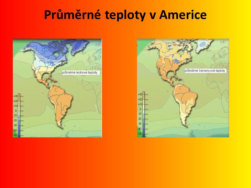 Průměrné teploty v Americe