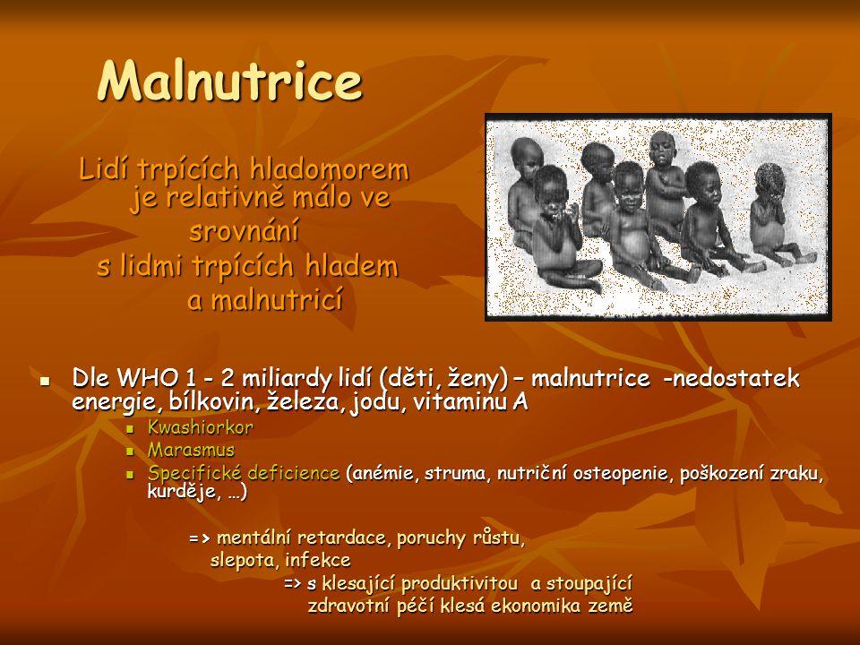 Malnutrice Lidí trpících hladomorem je relativně málo ve srovnání s lidmi trpících hladem s lidmi trpících hladem a malnutricí a malnutricí Dle WHO 1