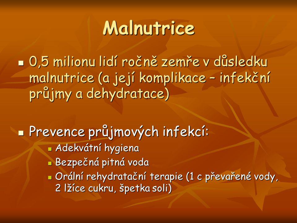 Malnutrice 0,5 milionu lidí ročně zemře v důsledku malnutrice (a její komplikace – infekční průjmy a dehydratace) 0,5 milionu lidí ročně zemře v důsle