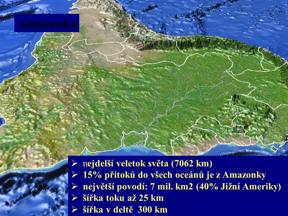 Amazonka  nejdelší veletok světa (7062 km)  15% přítoků do všech oceánů je z Amazonky  největší povodí: 7 mil. km2 (40% Jižní Ameriky)  šířka toku