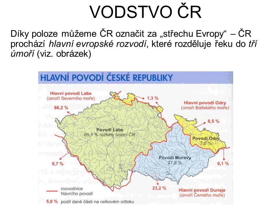 Řeky Hlavní Evropské rozvodí (tří úmoří) Vodní zásoby jsou závislé na srážkách (v průměru 679 mm) z toho 189 mm od náš odteče = necelá 1/3 odteče, více než 1/3 se vsákne a 1/3 se vypaří – důležité je vodní hospodářství.