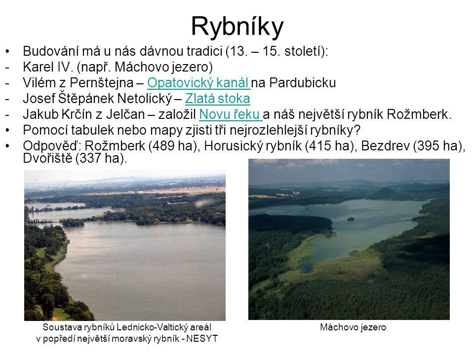 Rybníky Budování má u nás dávnou tradici (13. – 15. století): -Karel IV. (např. Máchovo jezero) -Vilém z Pernštejna – Opatovický kanál na PardubickuOp