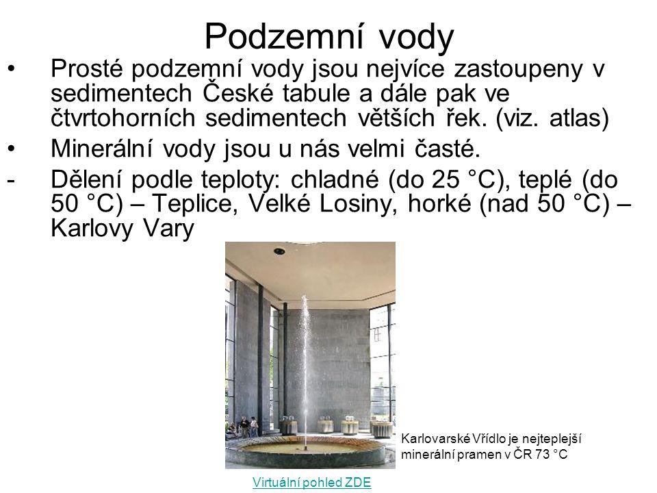 Podzemní vody Prosté podzemní vody jsou nejvíce zastoupeny v sedimentech České tabule a dále pak ve čtvrtohorních sedimentech větších řek. (viz. atlas