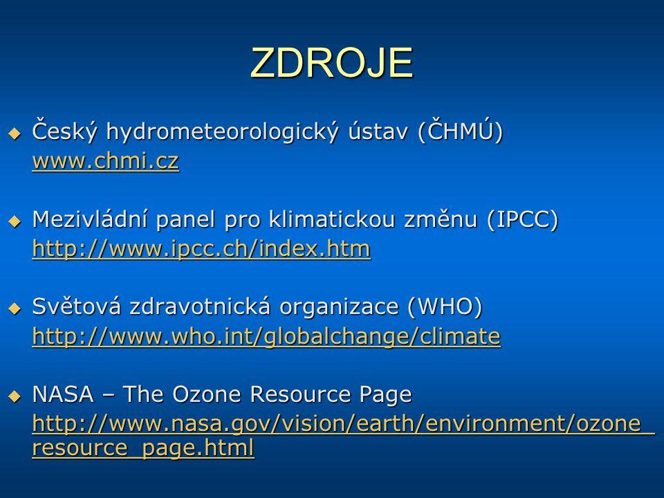 ZDROJE  Český hydrometeorologický ústav (ČHMÚ) www.chmi.cz  Mezivládní panel pro klimatickou změnu (IPCC) http://www.ipcc.ch/index.htm  Světová zdr