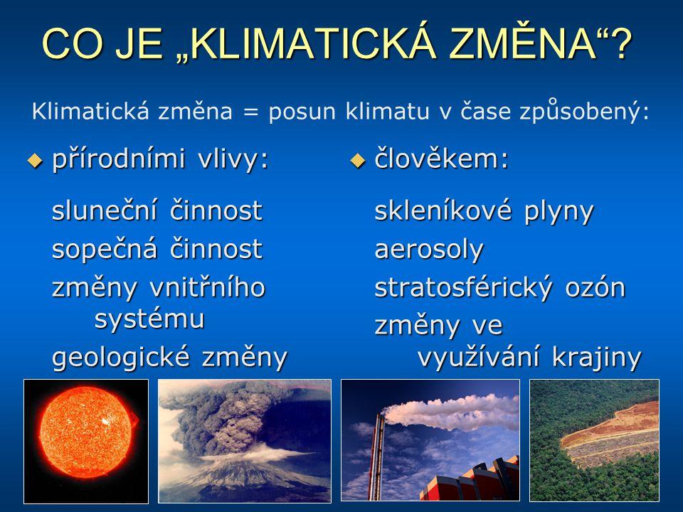 """CO JE """"KLIMATICKÁ ZMĚNA""""?  přírodními vlivy: sluneční činnost sopečná činnost změny vnitřního systému geologické změny  člověkem: skleníkové plyny a"""