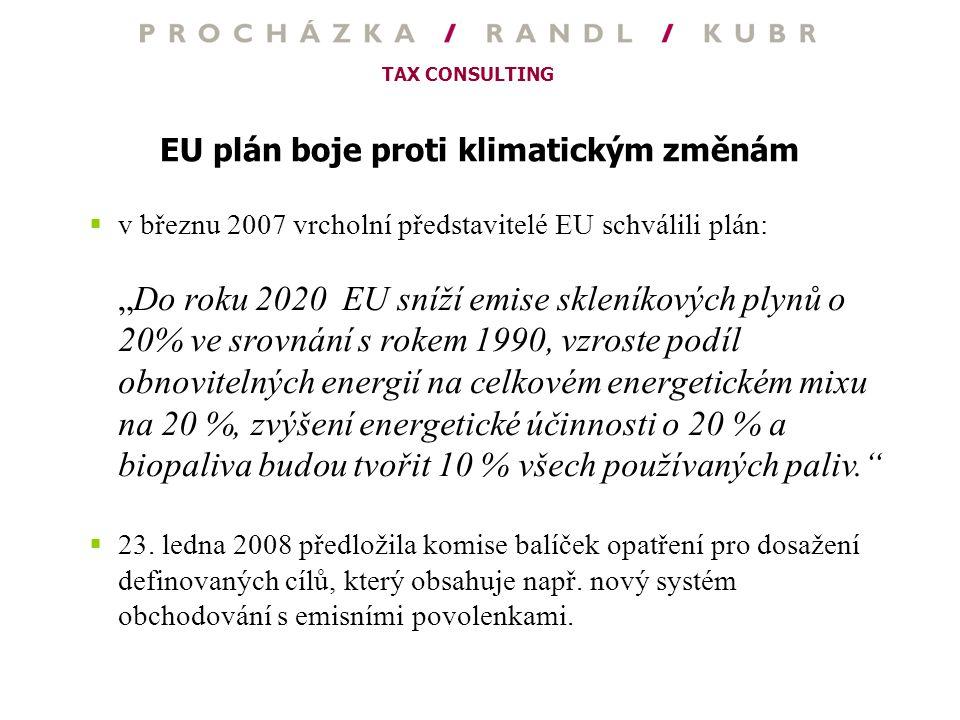 """TAX CONSULTING EU plán boje proti klimatickým změnám  v březnu 2007 vrcholní představitelé EU schválili plán: """"Do roku 2020 EU sníží emise skleníkový"""