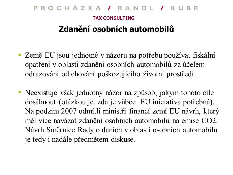 TAX CONSULTING Zdanění osobních automobilů  Země EU jsou jednotné v názoru na potřebu používat fiskální opatření v oblasti zdanění osobních automobil