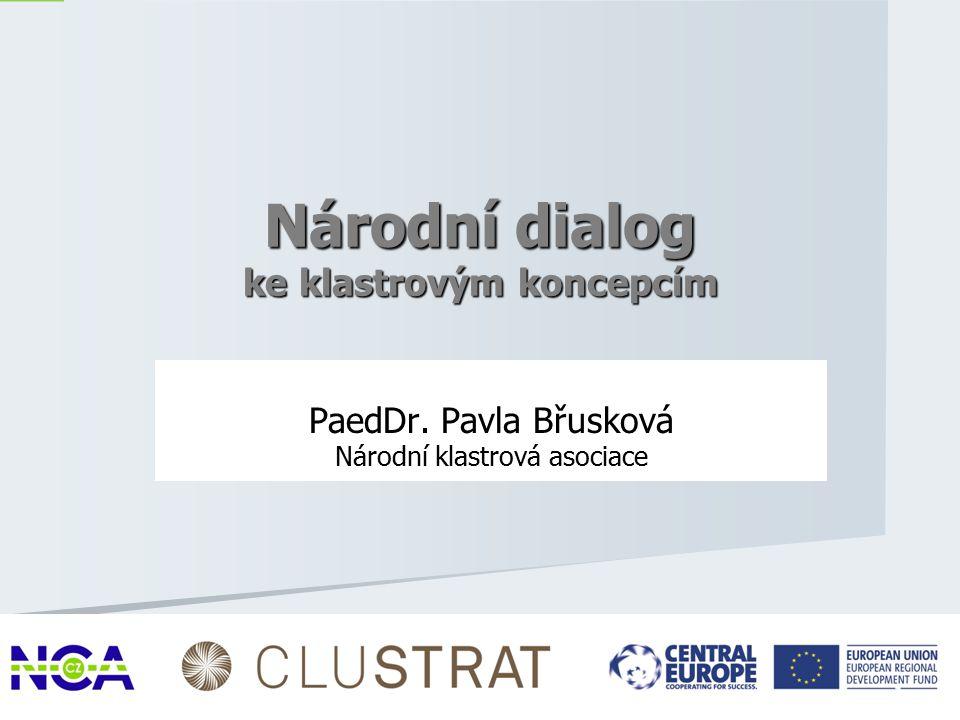 PaedDr. Pavla Břusková Národní klastrová asociace 1 Národní dialog ke klastrovým koncepcím
