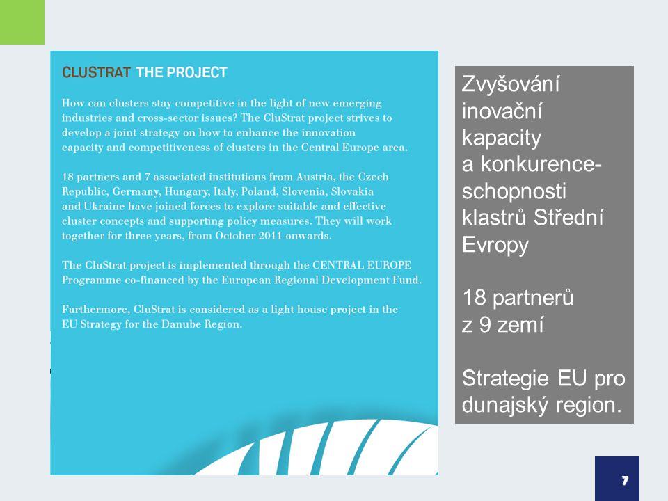 7 Zvyšování inovační kapacity a konkurence- schopnosti klastrů Střední Evropy 18 partnerů z 9 zemí Strategie EU pro dunajský region.