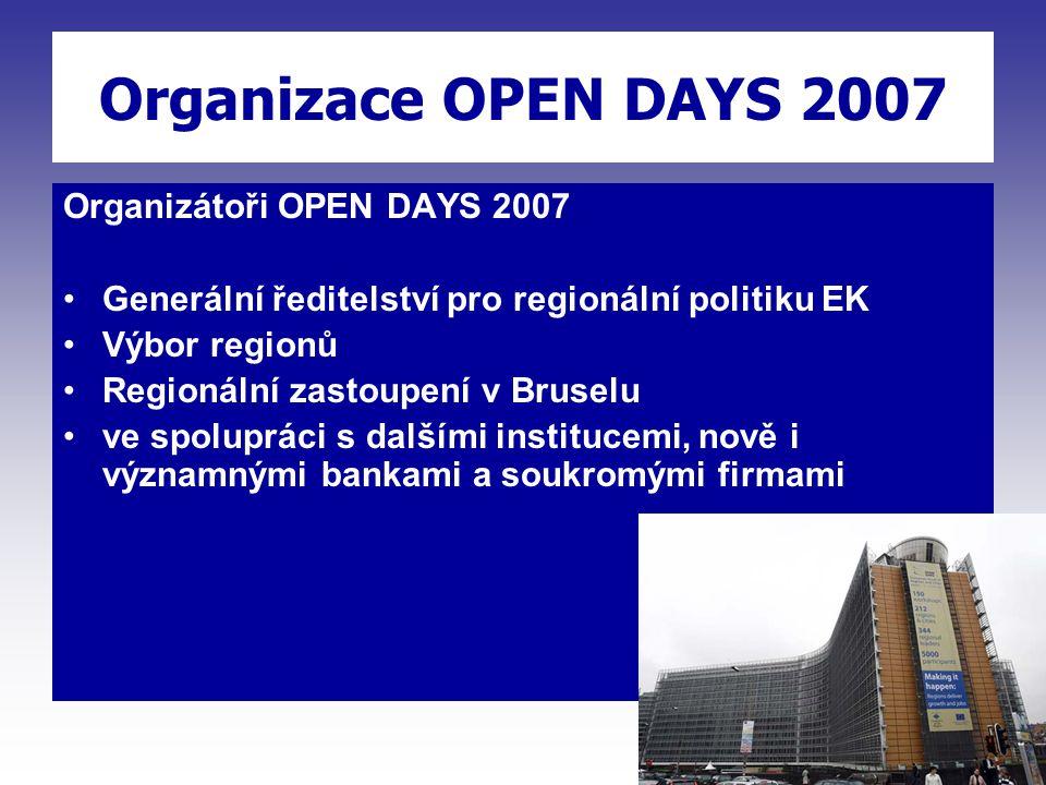 Organizace OPEN DAYS 2007 Organizátoři OPEN DAYS 2007 Generální ředitelství pro regionální politiku EK Výbor regionů Regionální zastoupení v Bruselu ve spolupráci s dalšími institucemi, nově i významnými bankami a soukromými firmami