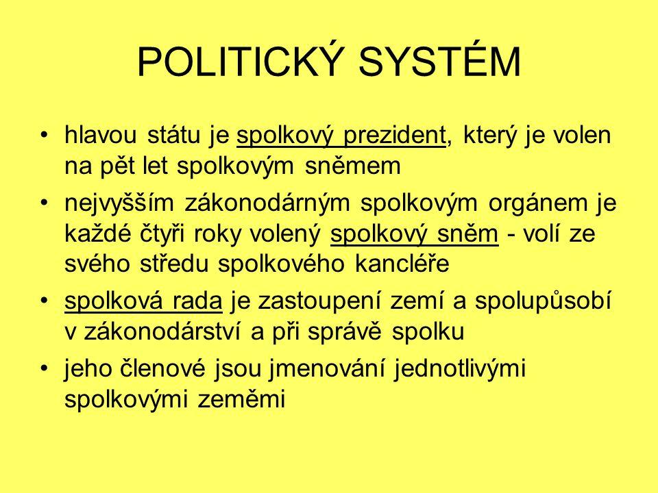 POLITICKÝ SYSTÉM hlavou státu je spolkový prezident, který je volen na pět let spolkovým sněmem nejvyšším zákonodárným spolkovým orgánem je každé čtyři roky volený spolkový sněm - volí ze svého středu spolkového kancléře spolková rada je zastoupení zemí a spolupůsobí v zákonodárství a při správě spolku jeho členové jsou jmenování jednotlivými spolkovými zeměmi