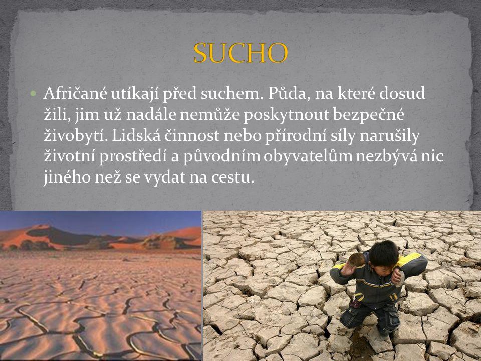 Afričané utíkají před suchem. Půda, na které dosud žili, jim už nadále nemůže poskytnout bezpečné živobytí. Lidská činnost nebo přírodní síly narušily