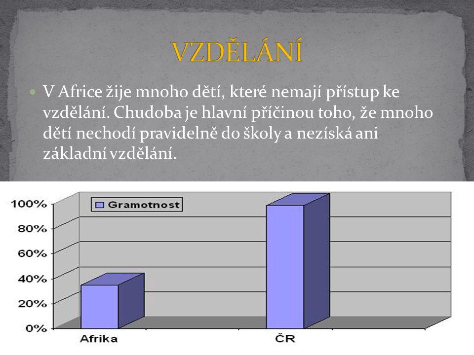 V Africe žije mnoho dětí, které nemají přístup ke vzdělání. Chudoba je hlavní příčinou toho, že mnoho dětí nechodí pravidelně do školy a nezíská ani z