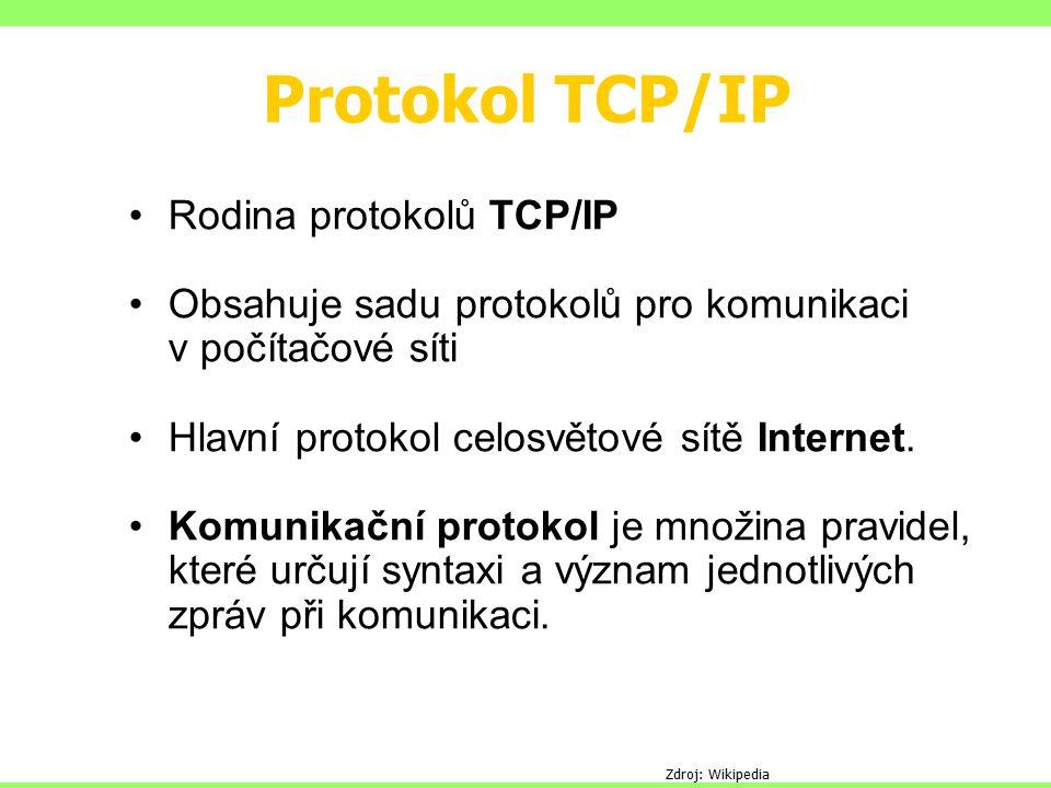 Protokol TCP/IP Rodina protokolů TCP/IP Obsahuje sadu protokolů pro komunikaci v počítačové síti Hlavní protokol celosvětové sítě Internet. Komunikačn