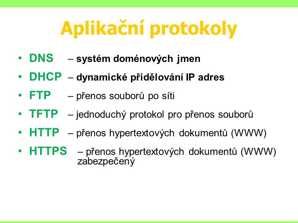 Aplikační protokoly DNS – systém doménových jmen DHCP – dynamické přidělování IP adres FTP – přenos souborů po síti TFTP – jednoduchý protokol pro pře