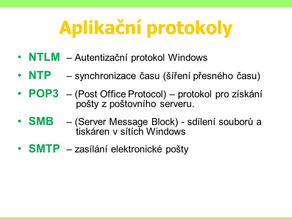 Aplikační protokoly NTLM – Autentizační protokol Windows NTP – synchronizace času (šíření přesného času) POP3 – (Post Office Protocol) – protokol pro
