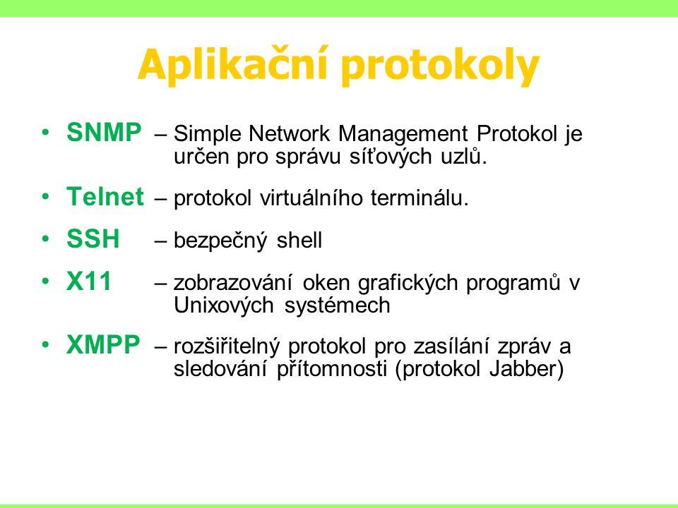 Aplikační protokoly SNMP – Simple Network Management Protokol je určen pro správu síťových uzlů. Telnet – protokol virtuálního terminálu. SSH – bezpeč