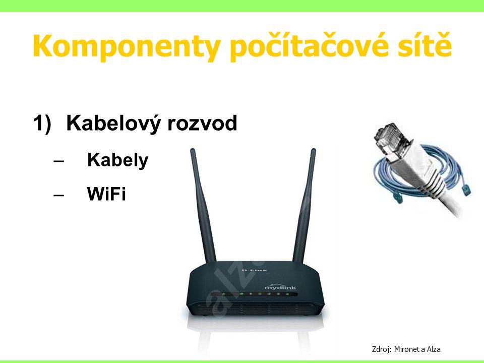 Komponenty počítačové sítě 1)Kabelový rozvod –Kabely –WiFi Zdroj: Mironet a Alza