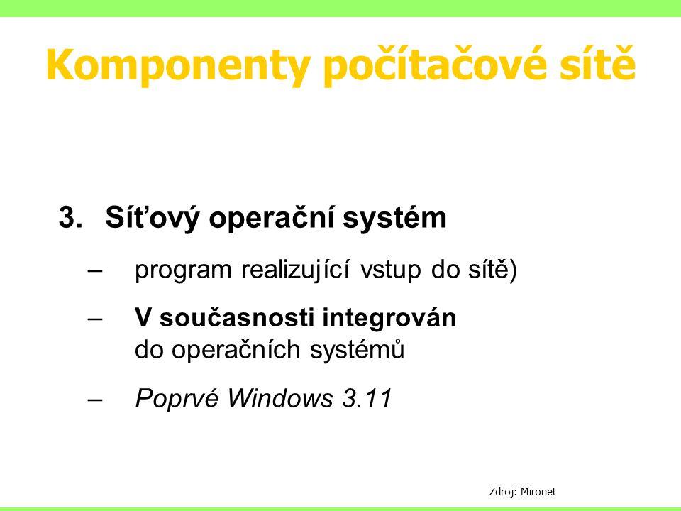 Komponenty počítačové sítě 3.Síťový operační systém –program realizující vstup do sítě) –V současnosti integrován do operačních systémů –Poprvé Window
