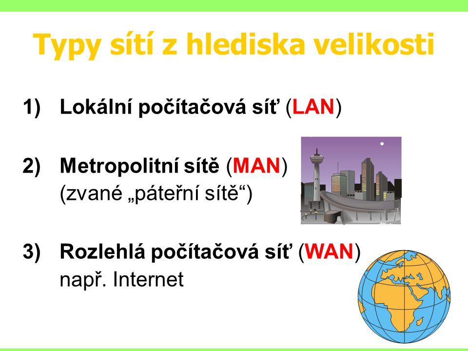 """Typy sítí z hlediska velikosti 1)Lokální počítačová síť (LAN) 2)Metropolitní sítě (MAN) (zvané """"páteřní sítě"""") 3)Rozlehlá počítačová síť (WAN) např. I"""