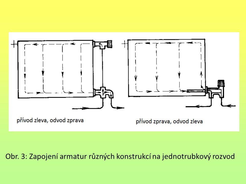 Obr. 3: Zapojení armatur různých konstrukcí na jednotrubkový rozvod