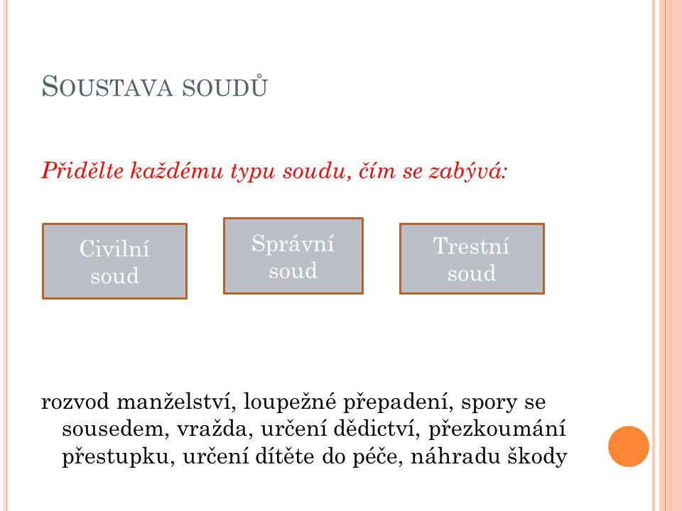 S OUSTAVA SOUDŮ Přidělte každému typu soudu, čím se zabývá: rozvod manželství, loupežné přepadení, spory se sousedem, vražda, určení dědictví, přezkou