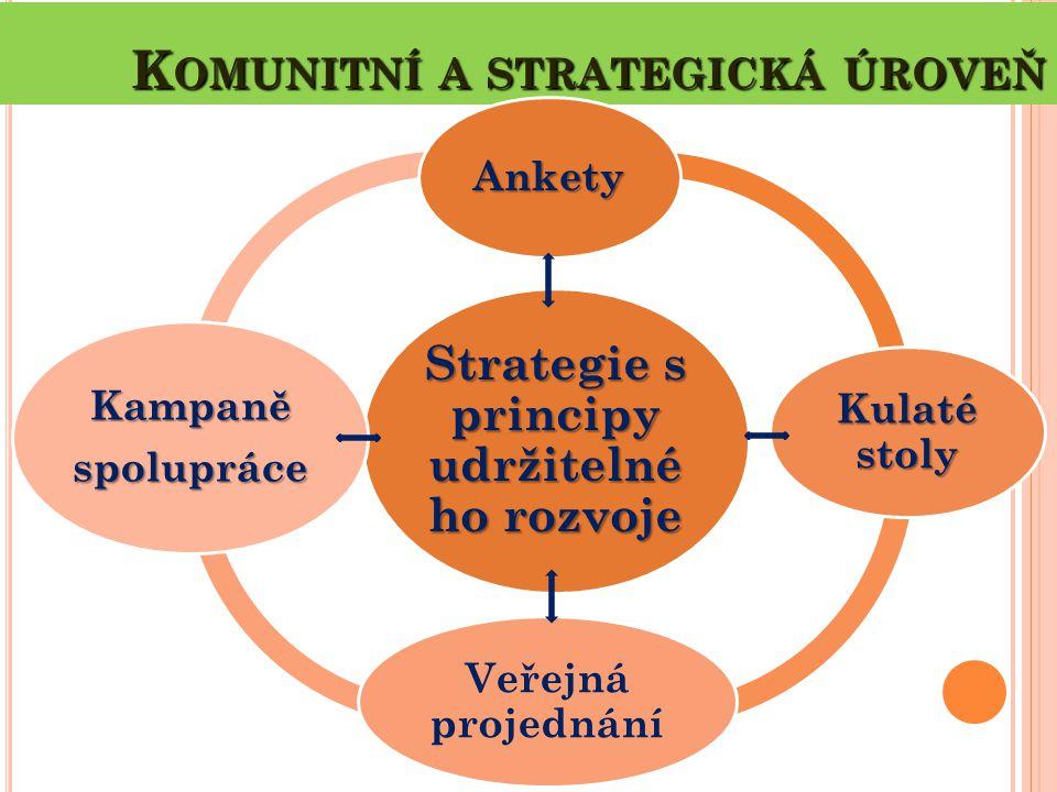 K OMUNITNÍ A STRATEGICKÁ ÚROVEŇ Strategie s principy udržitelné ho rozvoje Ankety Kulaté stoly Veřejná projednání Kampaněspolupráce