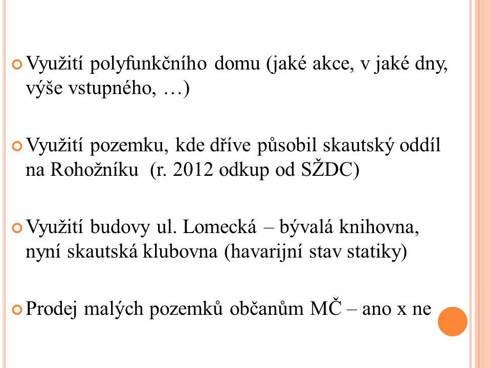 Využití polyfunkčního domu (jaké akce, v jaké dny, výše vstupného, …) Využití pozemku, kde dříve působil skautský oddíl na Rohožníku (r. 2012 odkup od