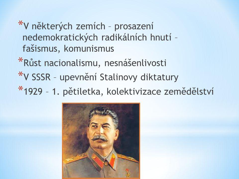 * V některých zemích – prosazení nedemokratických radikálních hnutí – fašismus, komunismus * Růst nacionalismu, nesnášenlivosti * V SSSR – upevnění St