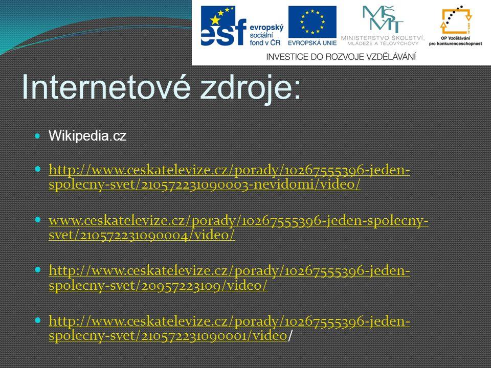Internetové zdroje: Wikipedia.cz http://www.ceskatelevize.cz/porady/10267555396-jeden- spolecny-svet/210572231090003-nevidomi/video/ http://www.ceskat