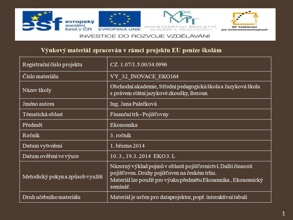 1 Výukový materiál zpracován v rámci projektu EU peníze školám Registrační číslo projektuCZ.