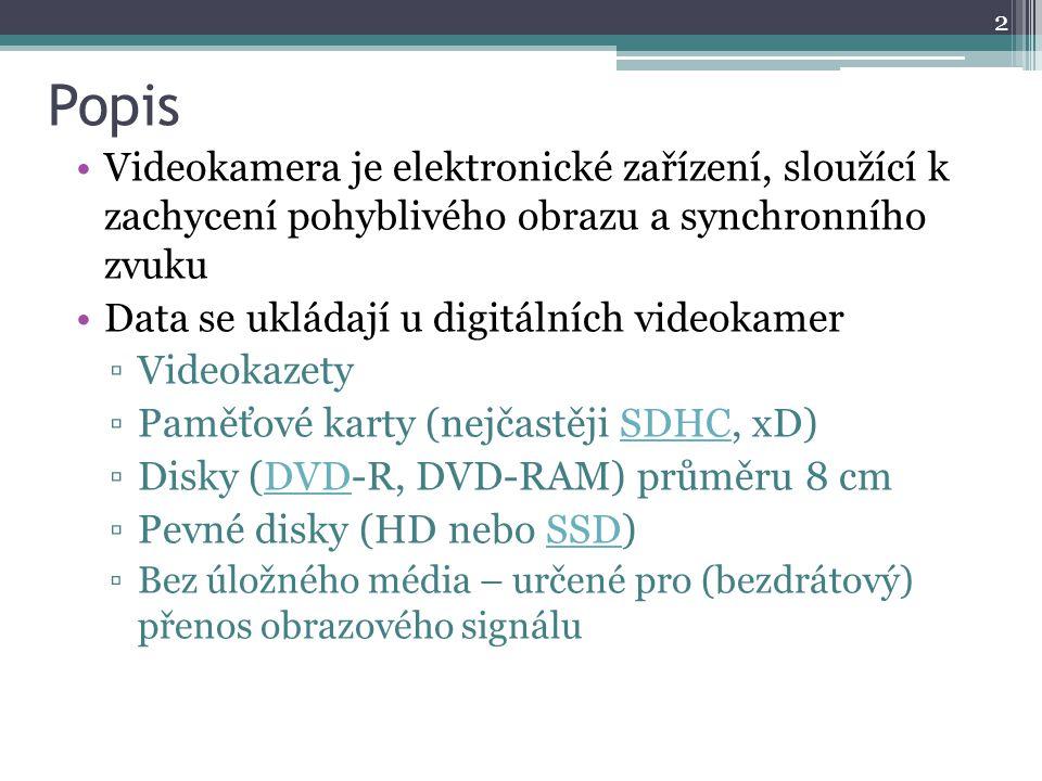Popis Videokamera je elektronické zařízení, sloužící k zachycení pohyblivého obrazu a synchronního zvuku Data se ukládají u digitálních videokamer ▫Vi