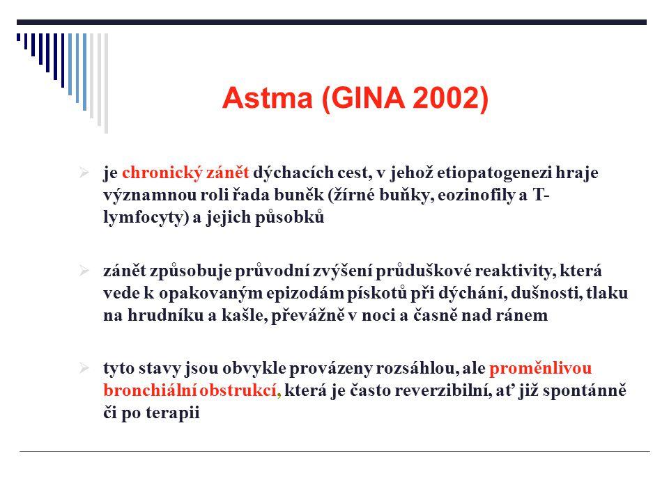 Astma (GINA 2002)  je chronický zánět dýchacích cest, v jehož etiopatogenezi hraje významnou roli řada buněk (žírné buňky, eozinofily a T- lymfocyty)