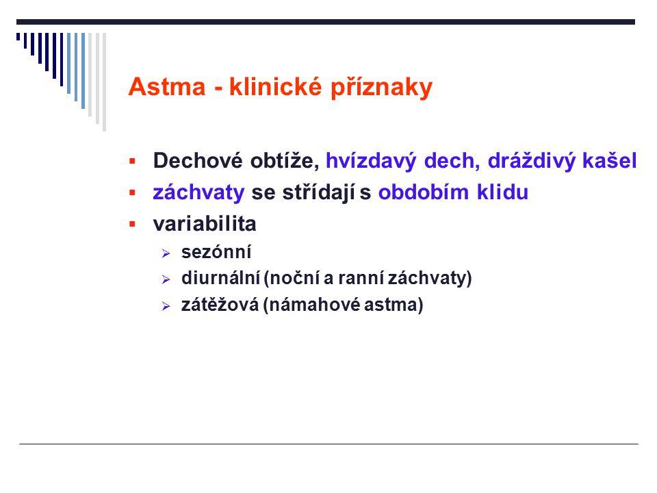 Astma - klinické příznaky  Dechové obtíže, hvízdavý dech, dráždivý kašel  záchvaty se střídají s obdobím klidu  variabilita  sezónní  diurnální (