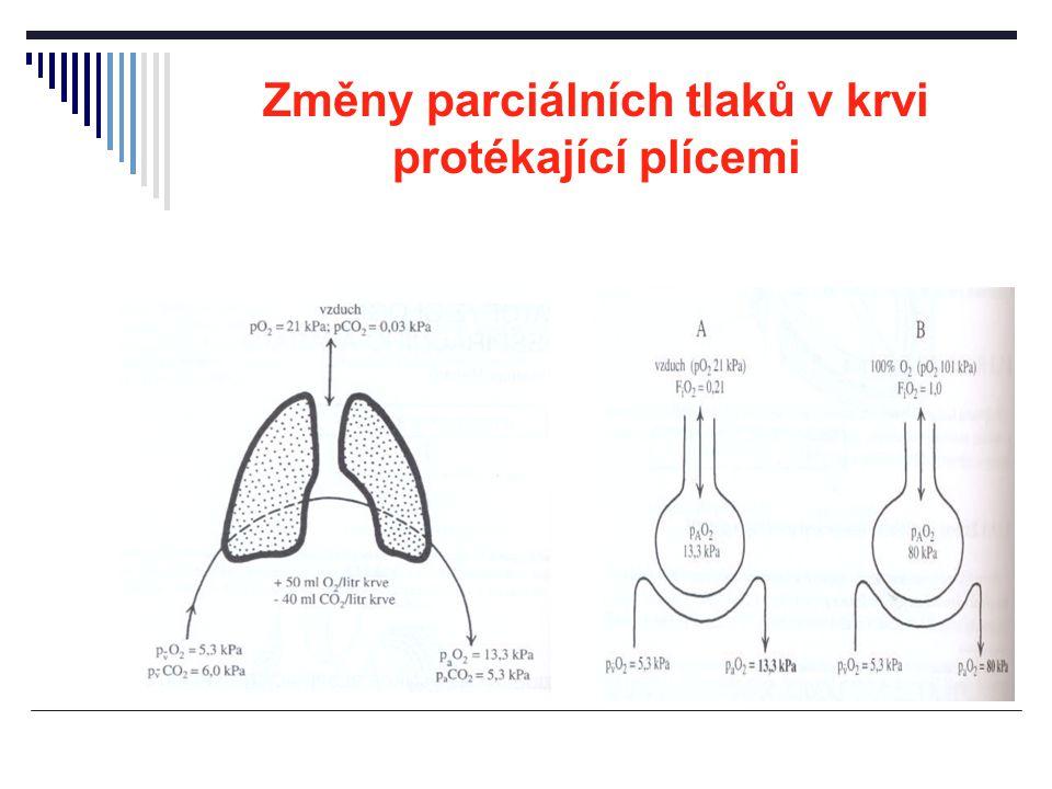 Změny parciálních tlaků v krvi protékající plícemi