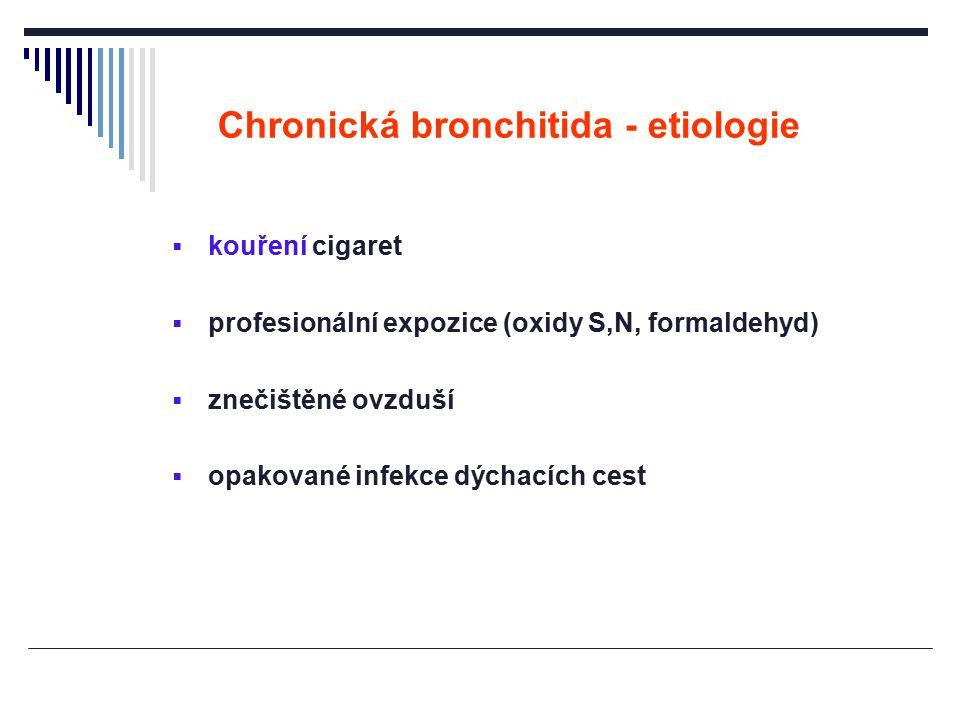 Chronická bronchitida - etiologie  kouření cigaret  profesionální expozice (oxidy S,N, formaldehyd)  znečištěné ovzduší  opakované infekce dýchací